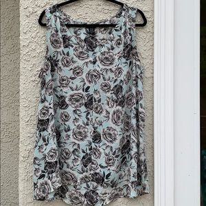 Torrid Sheer Mint/Gray Floral Cami Tank Size 2